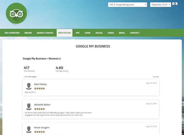 Google My Business reviews in a dashboard