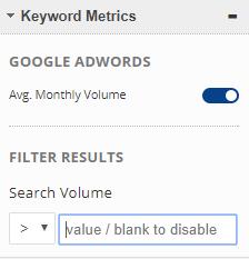select keyword metrics