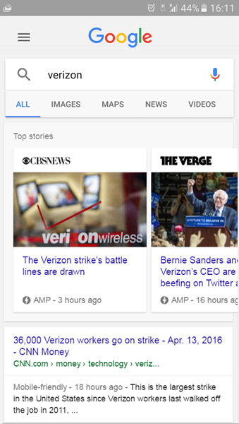 AMP in News Results