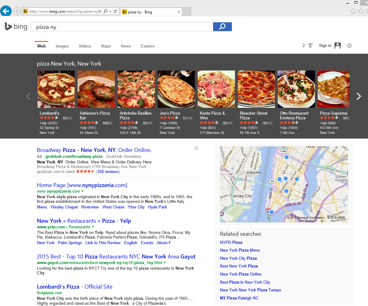Bing results for comparison against Yahoo