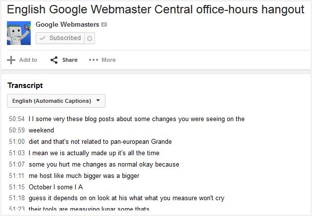 transcript of webmaster central hangout