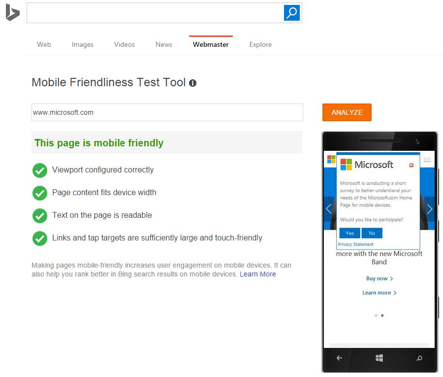 Bing Mobile Friendliness Test