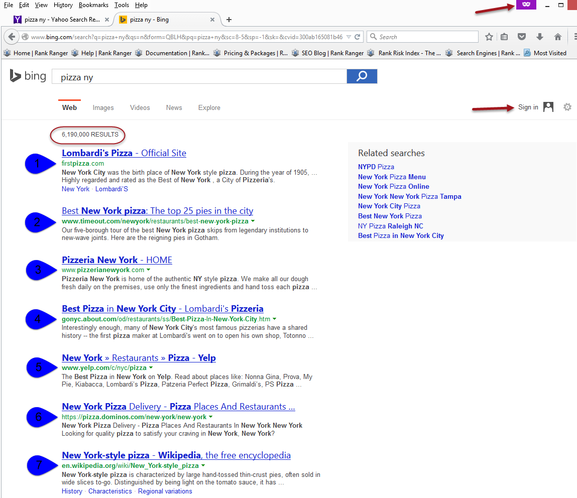 Bing search results differ from Yahoo