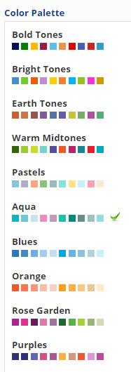 Analytics widget palette options