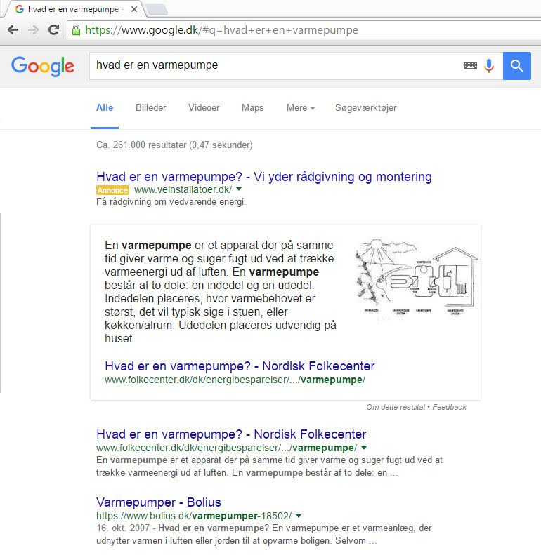 Danish SERP Results for Featured Snippet