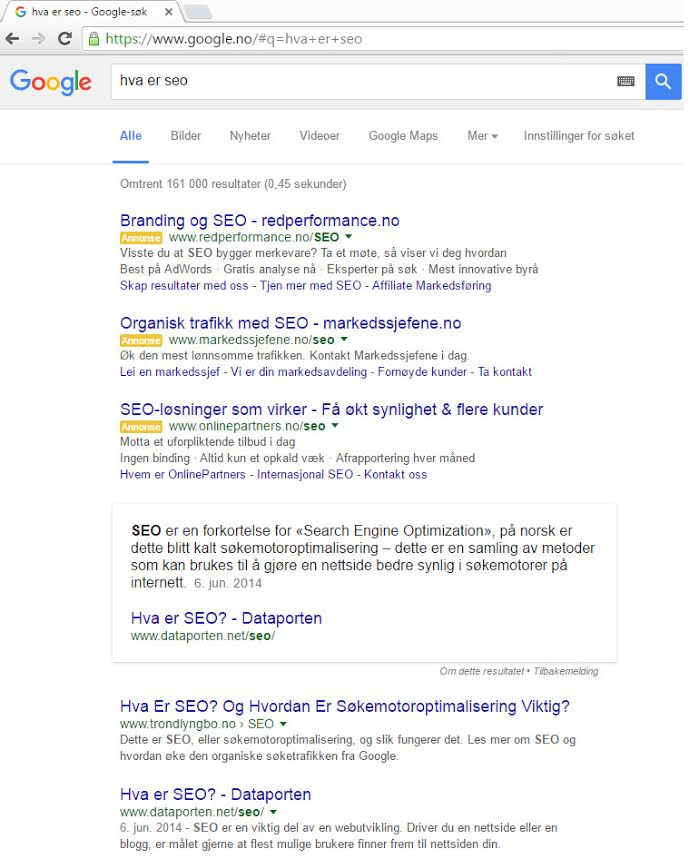 Norway's Featured Snippet Results on SERP