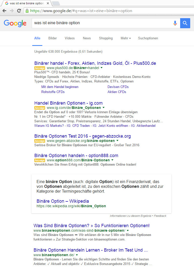 German Featured Snippet in SERP