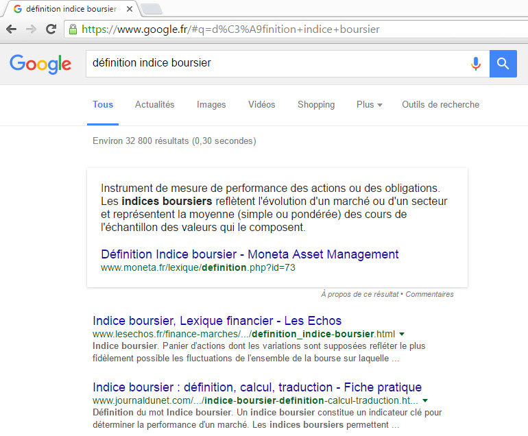 French Featured Snippet Result