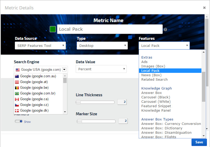 SERP Features Graph Local Pack Search Engine Options
