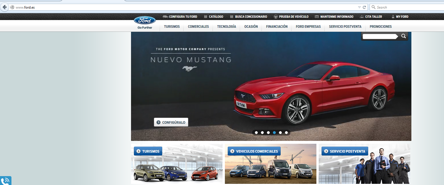 the ford.es site, a national URL top level extension
