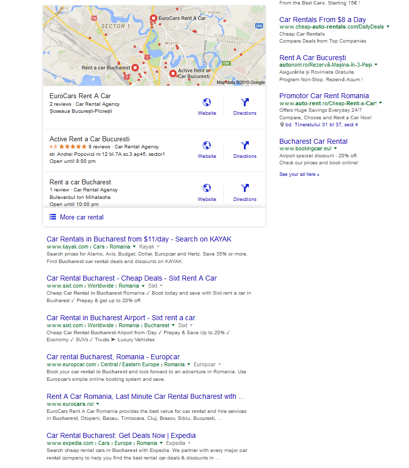 Example Google Search of Car Rentals in Bucharest
