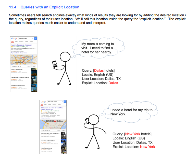 Mobile Results Specific Location Query, Google Page Guidelines