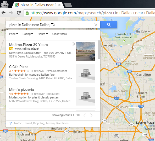 Google Map search confused