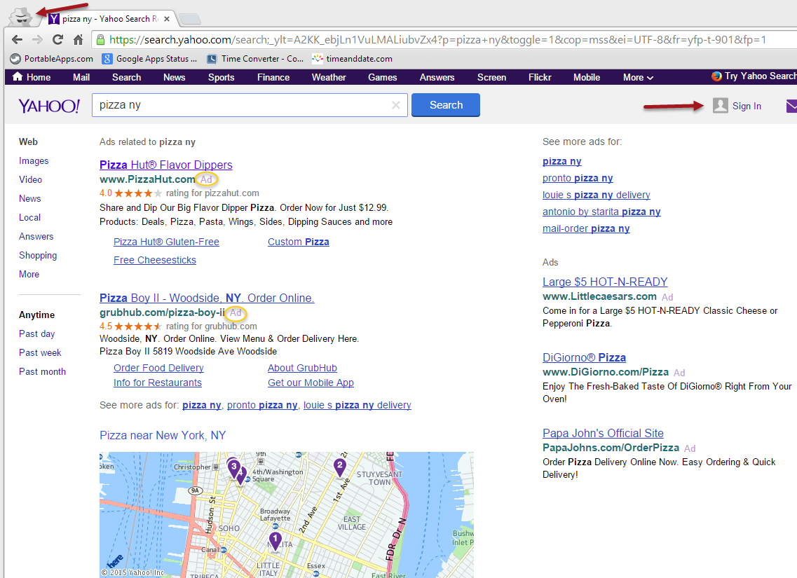 Yahoo Search in Google Chrome Incognito
