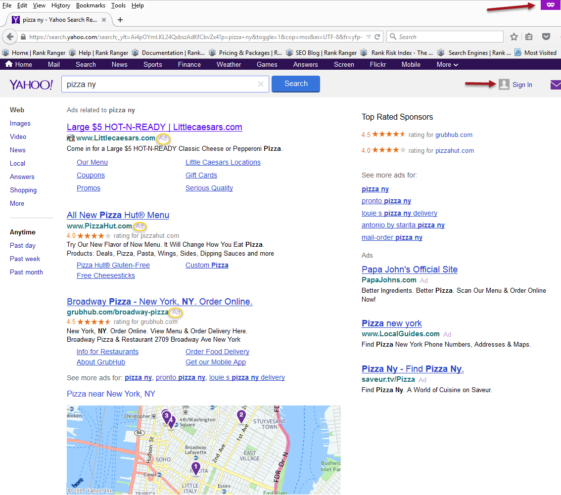 Yahoo Search in Firefox