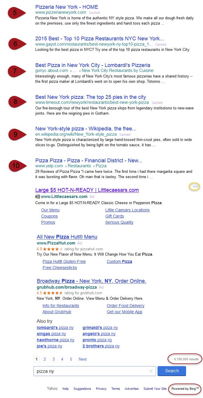 Yahoo search results shuffle