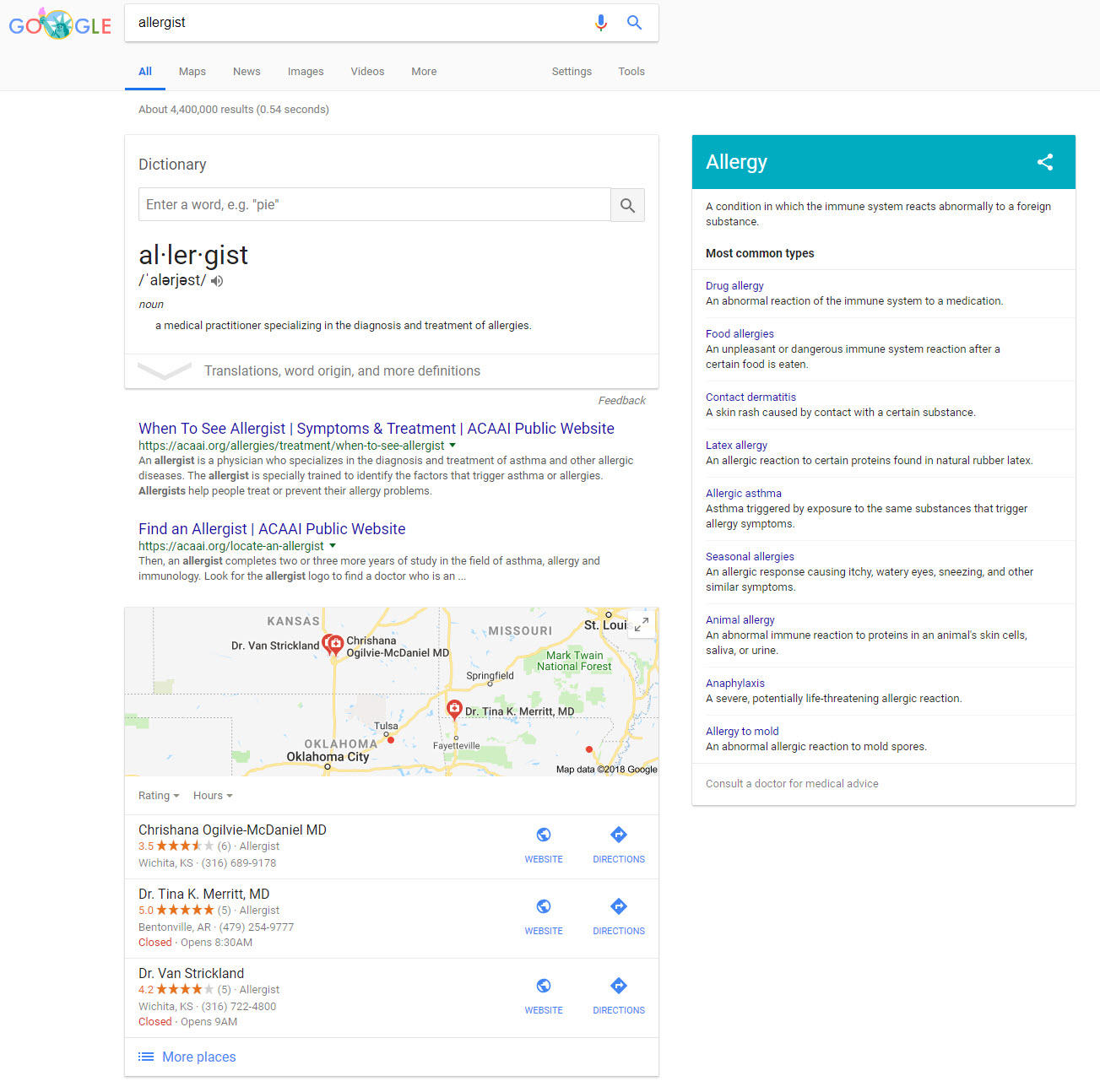 Three Top Showing SERP Features