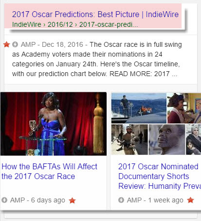 AMP Carousel - Oscar Prediction Result