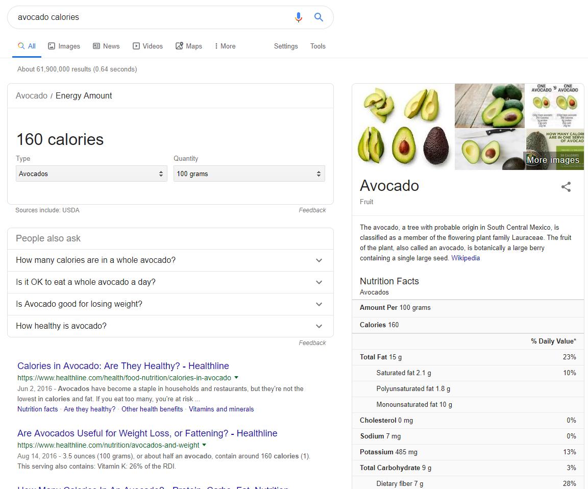 Avocado Health Info on SERP