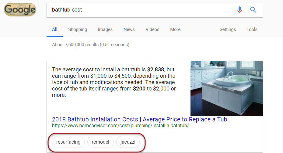 Featured Snippet Bubble Filter