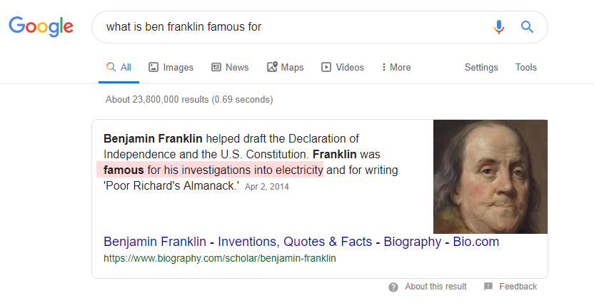 Ben Franklin Featured Snippet