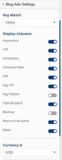 Big Ads Report Options