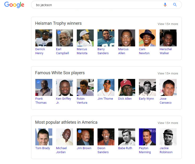 Bo Jackson Related Search Boxes