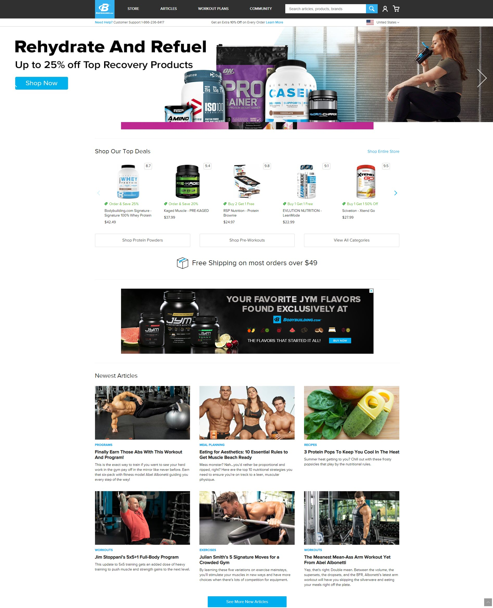 Homepage for bodybuilding.com