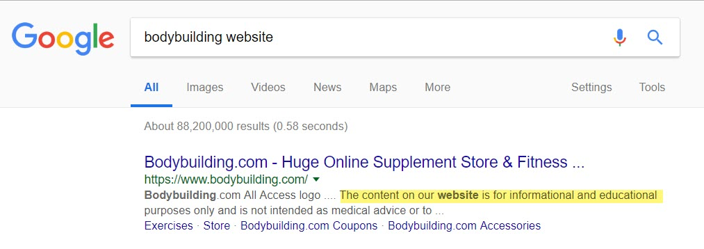 Site Description for Bodybuilding.com