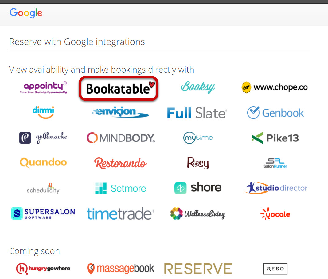 Bookatable Google Partner