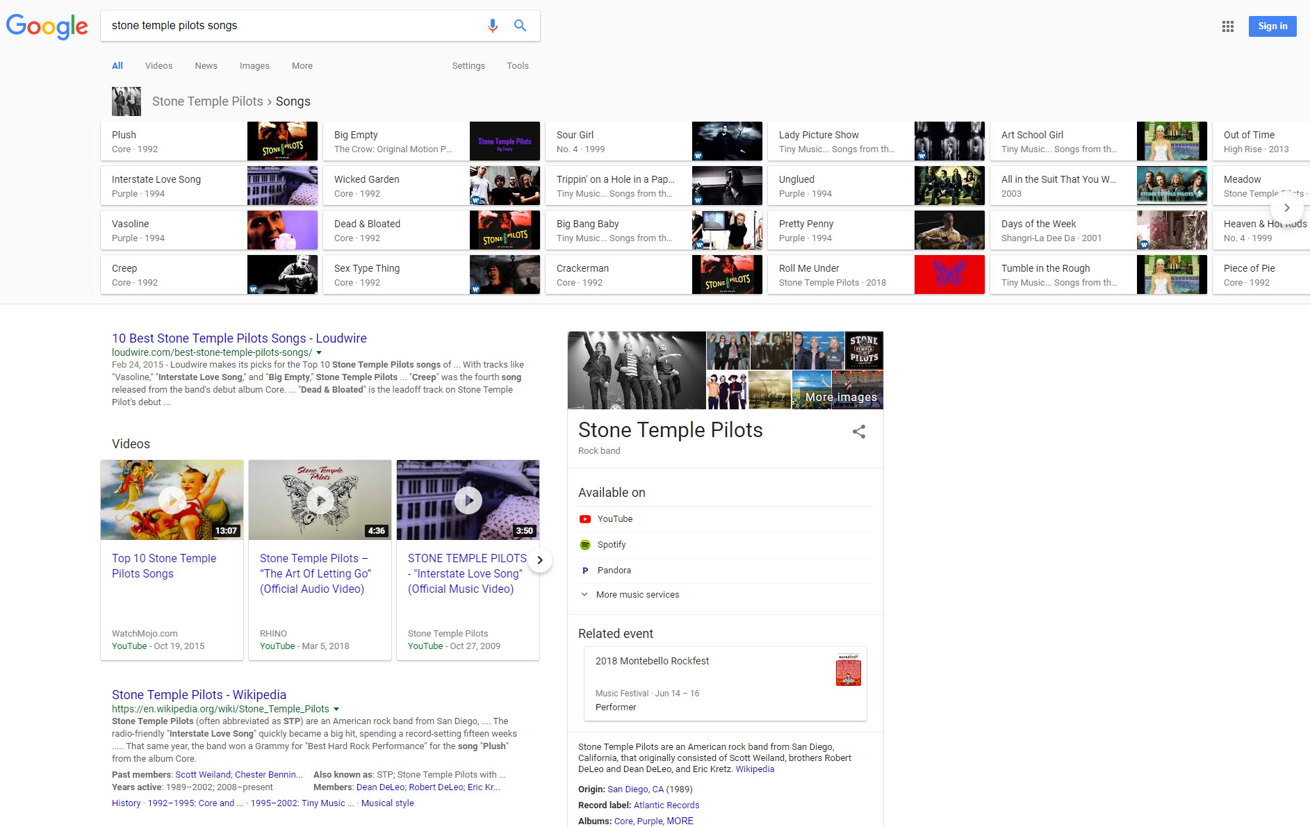Knowledge Panel , Top Carousel, & Video Carousel