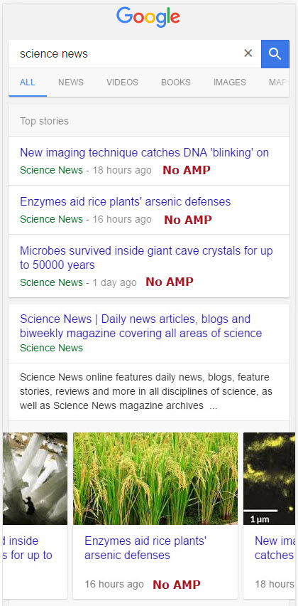 Science Carousels on Mobile - Non-AMP