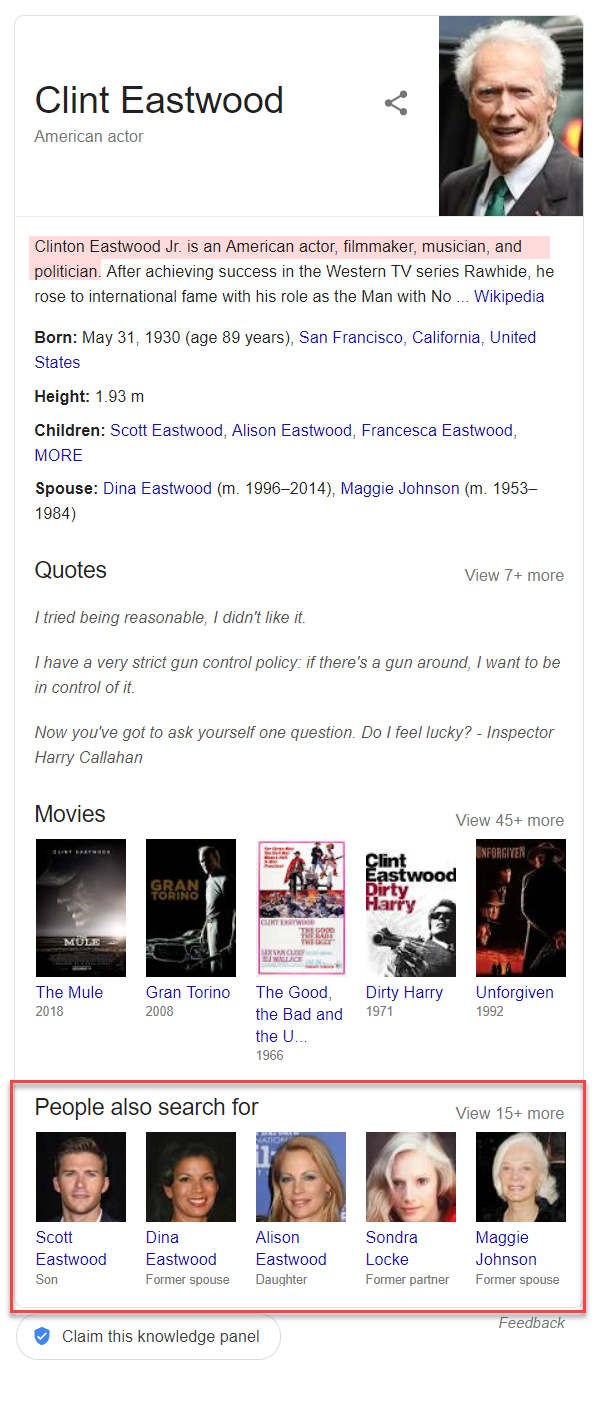 Clint Eastwood Knowledge Panel