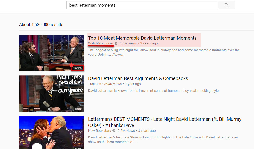 Letterman Moments YouTube Rankings