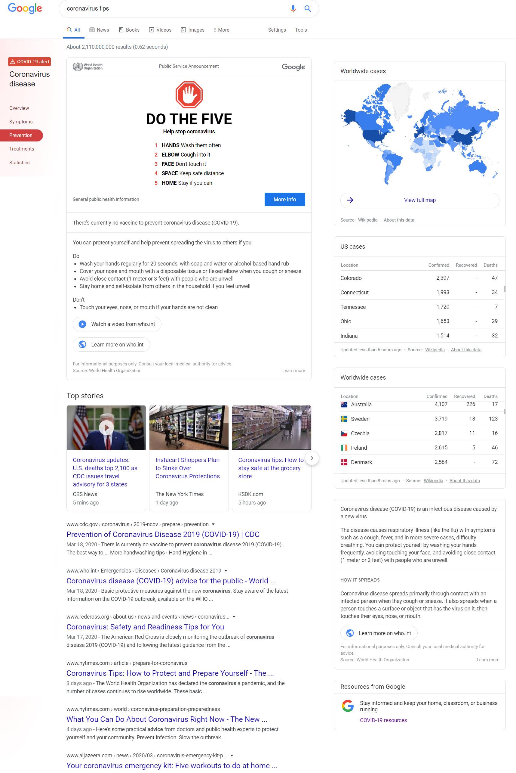 Google Coronavirus SERP