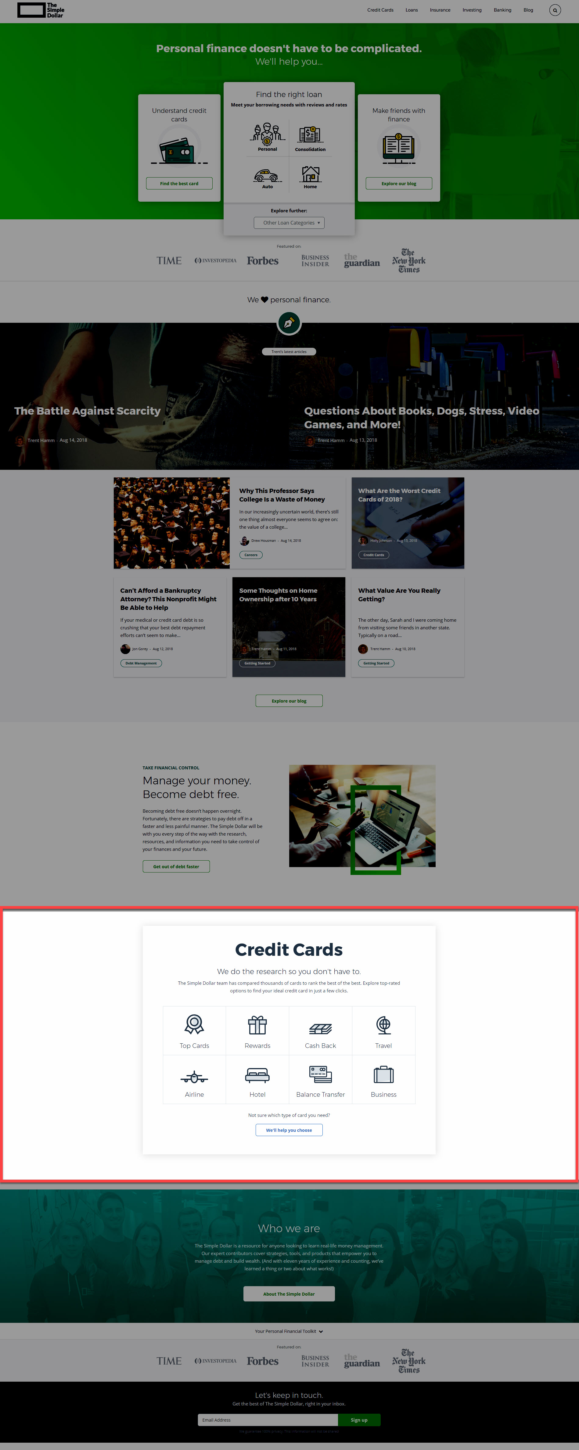 Simple Dollar Credit Card Section Homepage