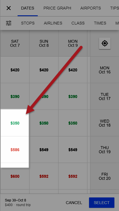 Flight Box Price Calendar