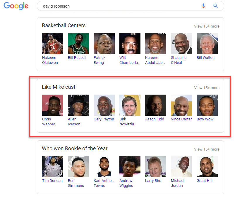 David Robinson Related Search Boxes