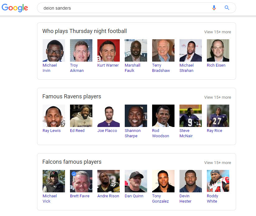 Deion Sanders Related Search Boxes