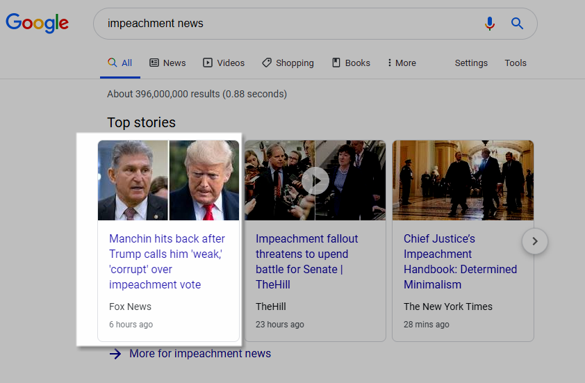 Desktop News Carousel Google