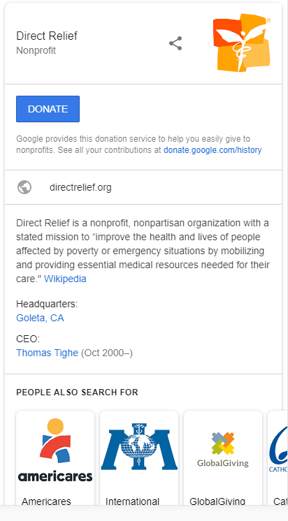 Donate Button - Knowledge Panel