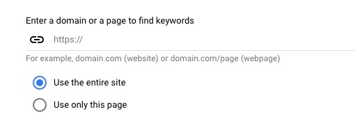 Keyword Planner Search by Domain