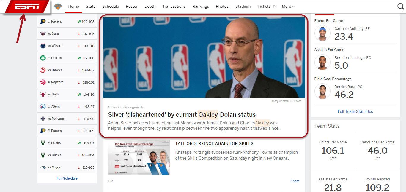 ESPN News Story
