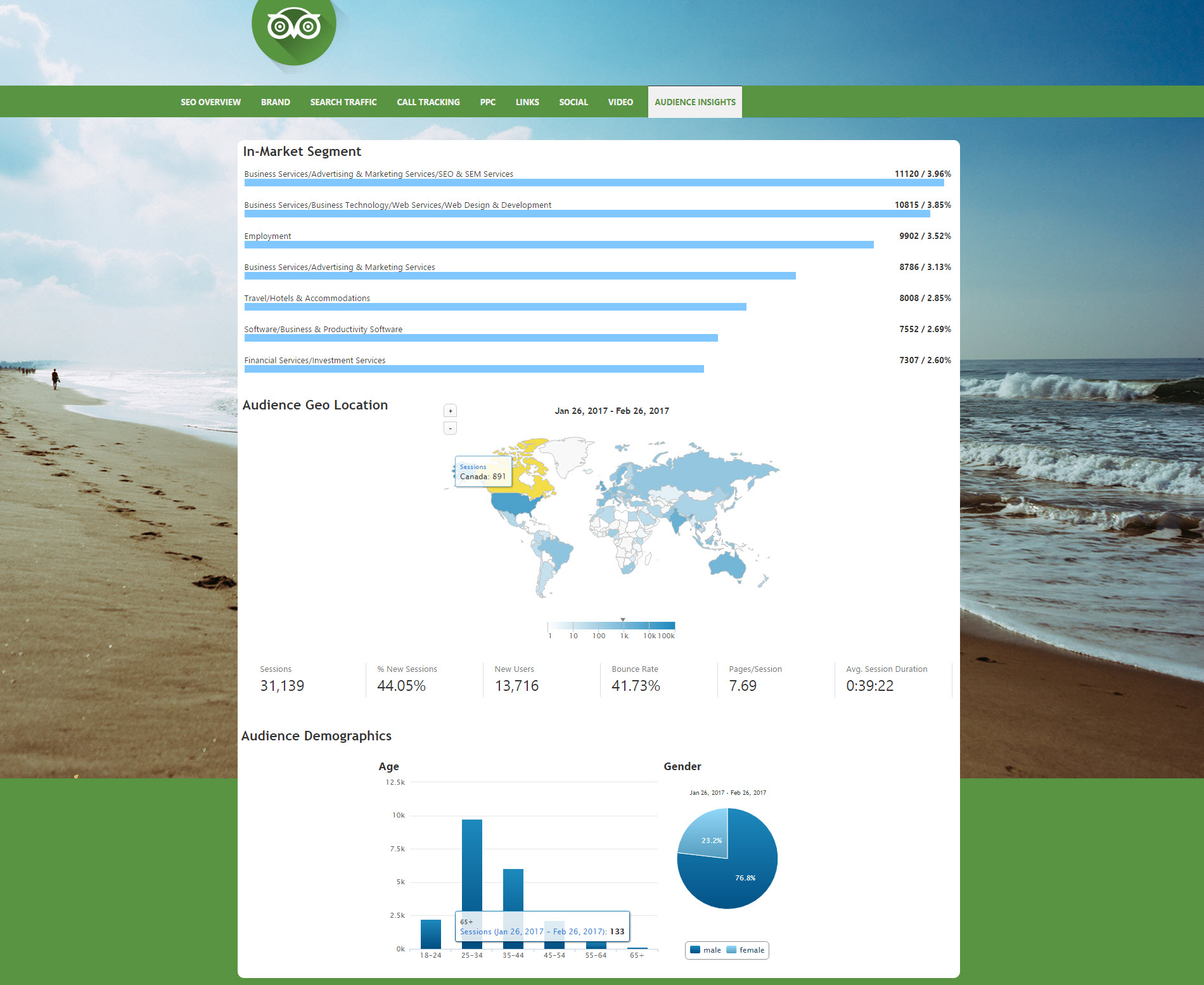 White Label Dashboard - Audience Insights