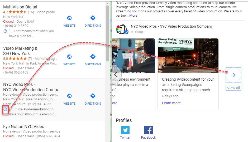 Extrait du Finder local de Google Posts