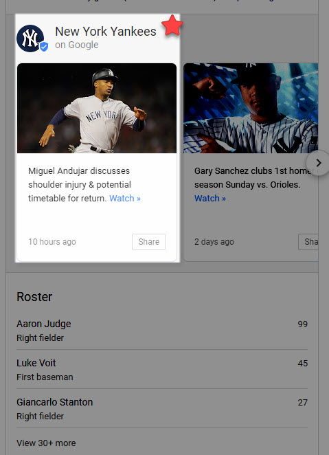 NY Yankees Google Post