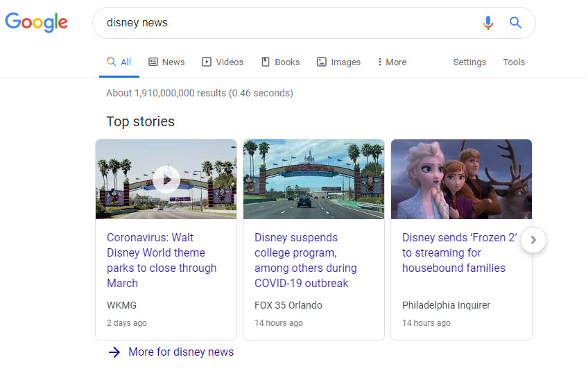 Google Top Stories Desktop