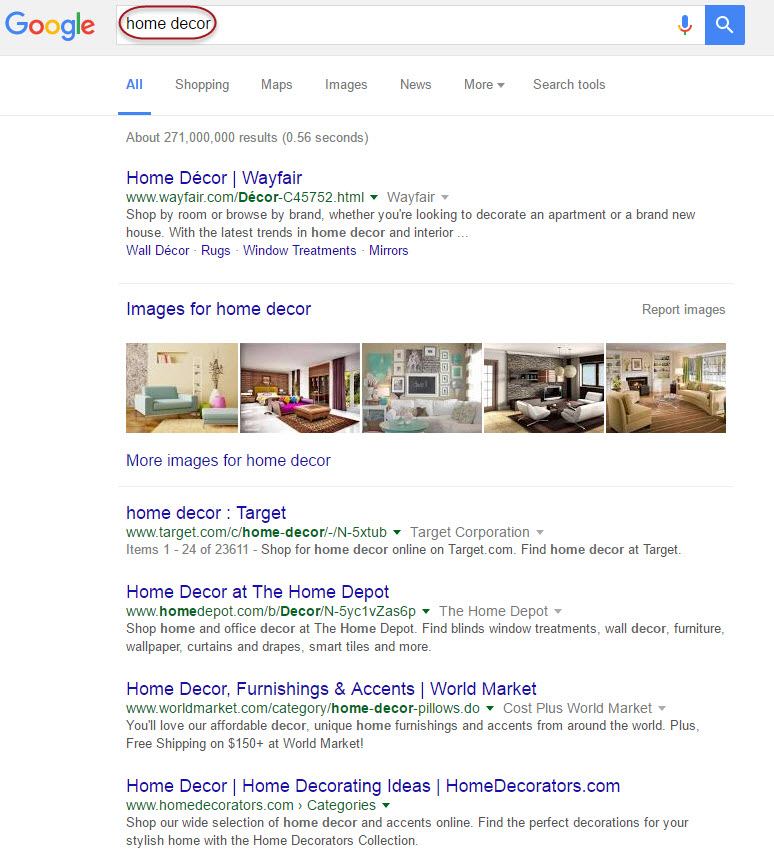 Home Decor Results on the SERP