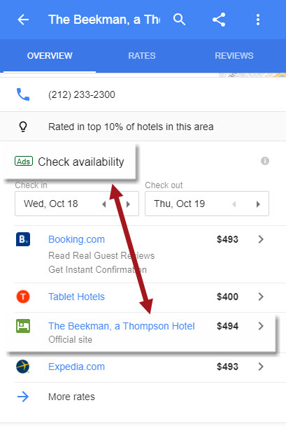 Hotel Site within Local Panel Ad