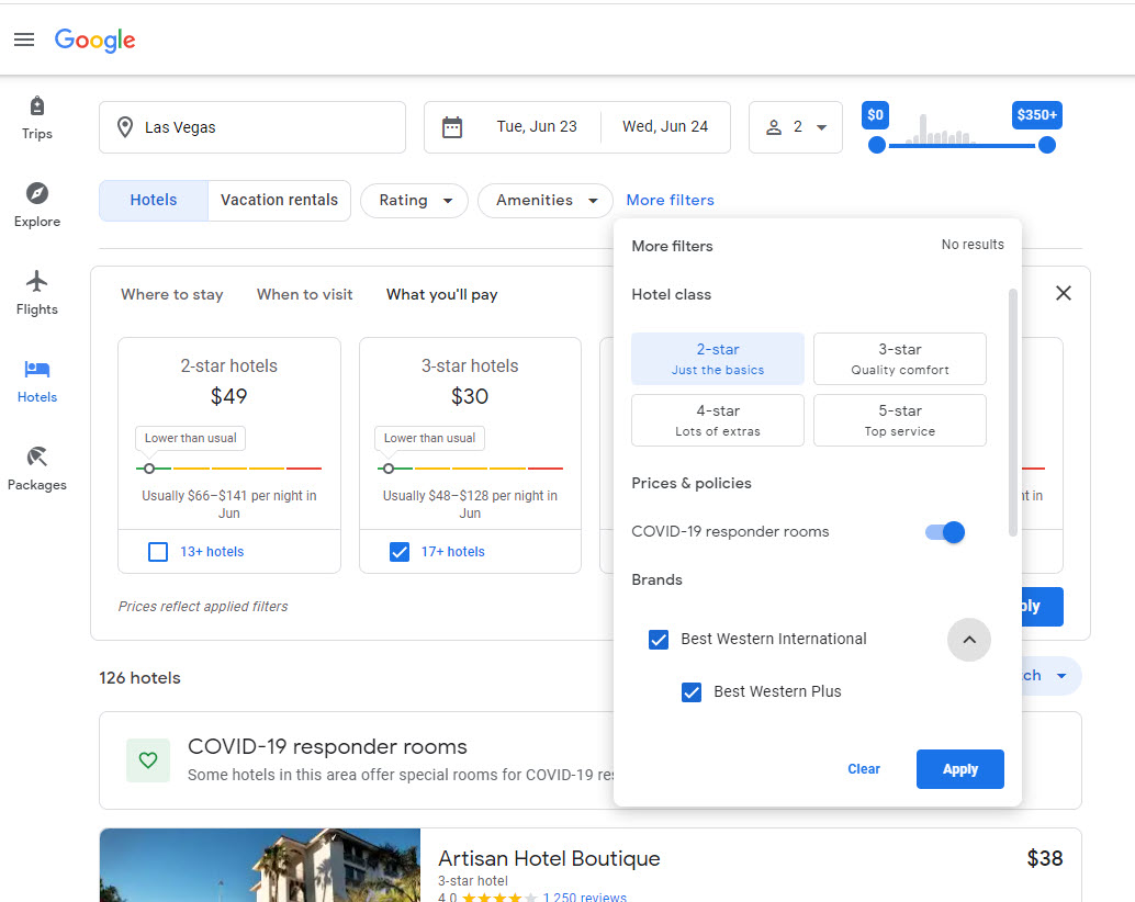 Google Travel Site Filters